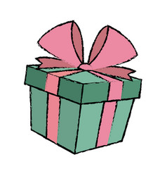 Gift box decoration ribbon bow wrap vector