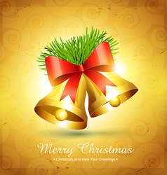 golden christmas bell design vector image