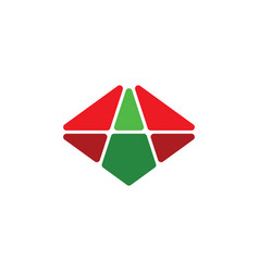 Green red a logo letter symbol logotype vector