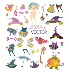 Halloween collection of dresses for cute paper vector