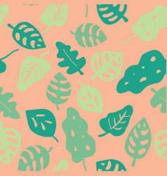 Hand drawn tropical leaves pattern pink vector