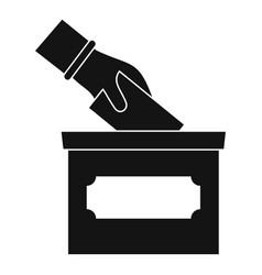 Hand put election box icon simple style vector