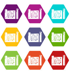 house plan icons set 9 vector image