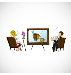 Husband and wife are watching TV sketch vector image