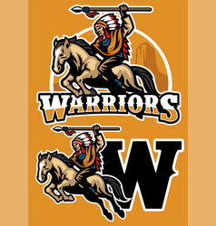 Indian warrior riding horse mascot vector