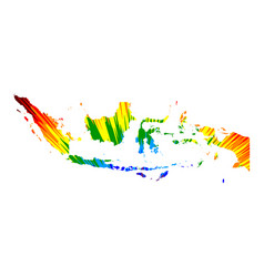 Indonesia - map is designed rainbow abstract vector