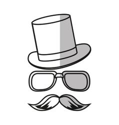 Isolated hipster hat glasses and mustache design vector