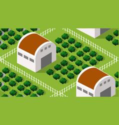 isometrics village seamless pattern vector image