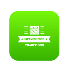 Japanese food icon green vector