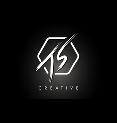 Js j s brushed letter logo design with creative vector
