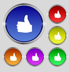 Like Thumb up icon sign Round symbol on bright vector image