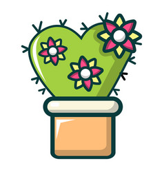 Love cactus icon cartoon style vector