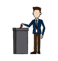 man in a suit businessman putting paper in the vector image