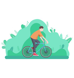 man riding bike isolated cartoon character vector image