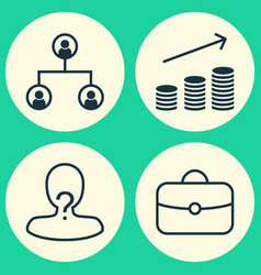management icons set collection of coin vector image