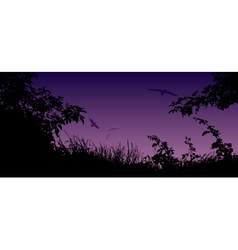 Meadow with a Purple Sky vector image