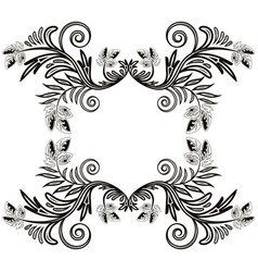 monochrome frame of leaves and curls sample vector image