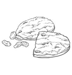 Oat cookies with raisins vector