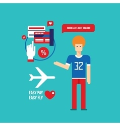 Online flight booking Easy mobile payment Travel vector image