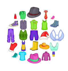 Outerwear icons set cartoon style vector