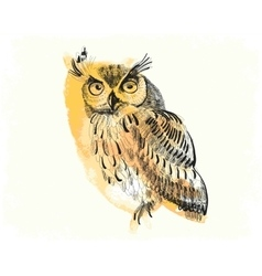 Owl hand-drawing on a watercolor background vector
