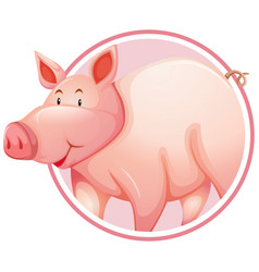 Pig in circle banner vector