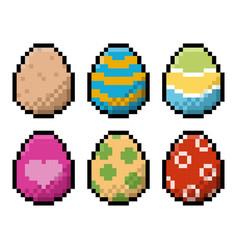 Pixel easter eggs pack vector