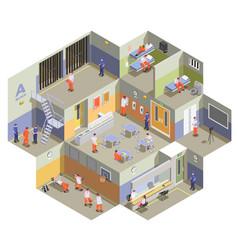 Prison jail isometric composition vector