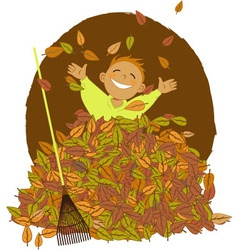 Raking leaves vector