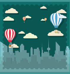 Retro hot air balloon sky background vector