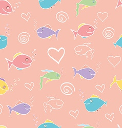 Seamless pattern cute cartoon fish vector
