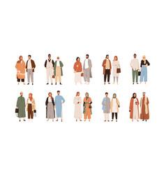 Set arab muslim couples modern arabian people vector