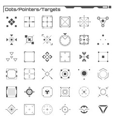 Set of black hud dots pointers targets elements vector