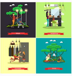 set of mother square posters in flat style vector image