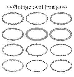 set of vintage simple oval frames vector image