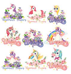 set unicorn banner vector image
