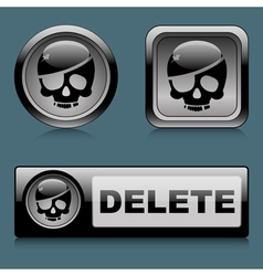 Set web buttons delete vector image