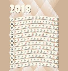 simple vertical calendar in unusual design months vector image