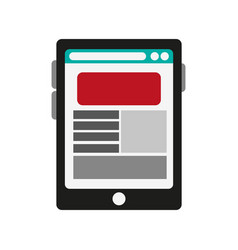 Smartphone with web page on screen icon image vector