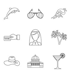 Solemn ceremony icons set outline style vector