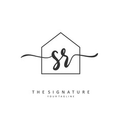 Sr initial letter handwriting and signature logo vector