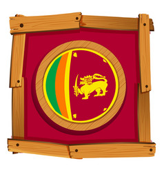 Sri lanka flag on round badge vector