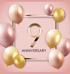 Template 9 years anniversary background with vector