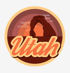 travel utah destination retro round icon vector image