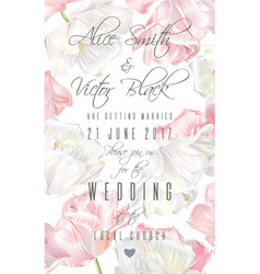 Tulip invitation card pink vector