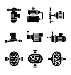 Water pump black icons sets vector image