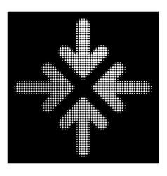 White halftone quadro collide arrows icon vector