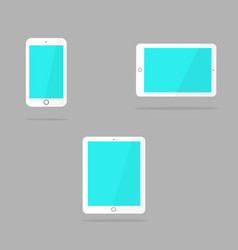 white tablet and smart phone in the style of the vector image