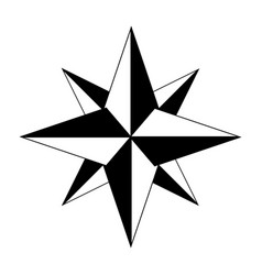 Wind rose icon compass symbol isolated on white vector