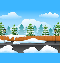 Winter forest landscape wit vector